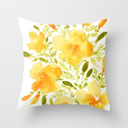 Watercolor California poppies (Quad set, #1) Throw Pillow