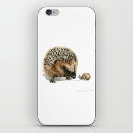 """""""Close Encounter"""" painting of a Hedgehog and Snail by Teresa Thompson iPhone Skin"""