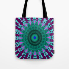Lovely Healing Mandala  in Brilliant Colors: purple, pink, teal, and green. Tote Bag