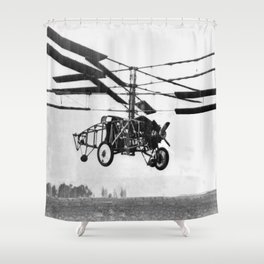 Helicopter Invention Shower Curtain