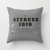 "jojo Throw Pillows featuring The ""Affreux Jojo"" barber by lescapricesdefilles"