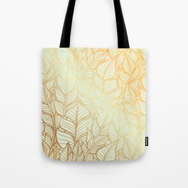 Bohemian Gold Feathers Illustration With White Shimmer Tote Bag