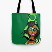 green lantern Tote Bags featuring Green Lantern by N3RDS+INK