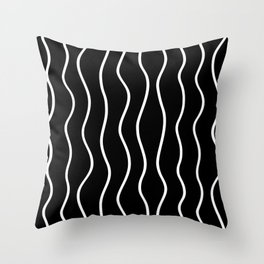 Modern Black and White Vertical Wave Pattern // Squiggly Hand Drawn Lines Throw Pillow