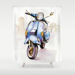 Azzurro Vespa (Motocicletalia) Shower Curtain