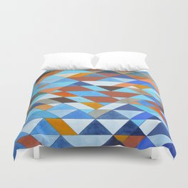 Triangle Pattern no.18 blue and orange Duvet Cover