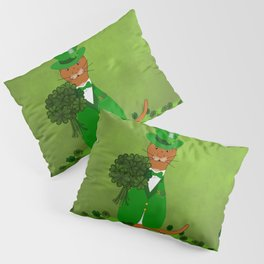 Oliver The Otter Picking Shamrocks- Saint Patricks Day Pillow Sham