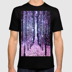 Magical Forest Path Lavender Pink Periwinkle Mens Fitted Tee Black MEDIUM