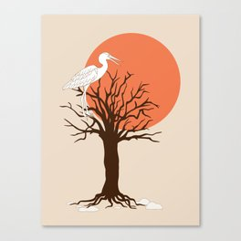 heron sitting in the tree during sunset Canvas Print