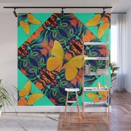 GOLDEN  BUTTERFLIES TROPICAL GREEN ABSTRACT PATTERN Wall Mural