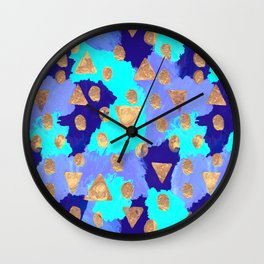 Friday Afternoon - Modern Free Style Abstract Pattern - Navy, Teal & Gold Wall Clock
