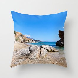 Rock formations at Liopessi near St. Peter in Andros, Greece Throw Pillow