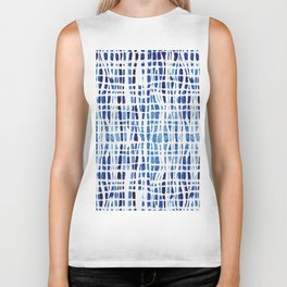 Shibori Braid Vivid Indigo Blue and White Biker Tank
