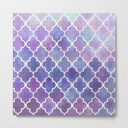 Purples & Pinks Watercolor Moroccan Pattern Metal Print