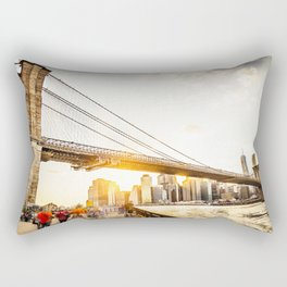 Brooklyn bridge in New York at sunset Rectangular Pillow