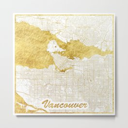 Vancouver Map Gold Metal Print