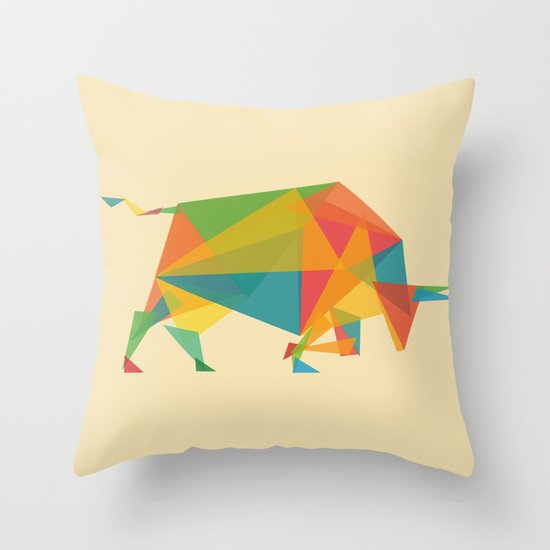 Fractal Geometric Bull Throw Pillow