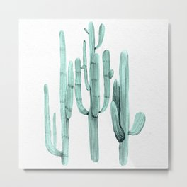 Turquoise Cactus Watercolor Painting Metal Print