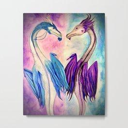 Watercolor Dragons Metal Print