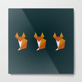 Triple tiny fox Metal Print