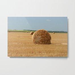 Straw Bale Metal Print