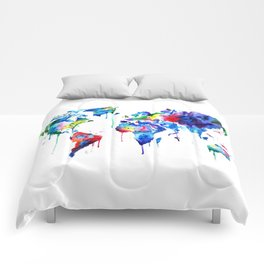 World Map, colorful Comforters