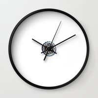 punk rock Wall Clocks featuring Punk Rock by Sam Sinister