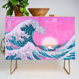Vaporwave Aesthetic Great Wave Off Kanagawa Credenza