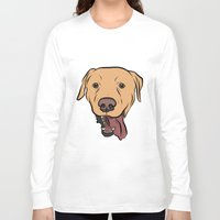 levi Long Sleeve T-shirts featuring Levi the Yellow Lab by Rachel Barrett