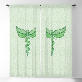 Caduceus with leaves Blackout Curtain