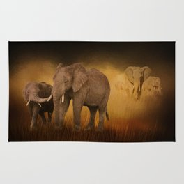 Elephants In The Tall Grass Rug