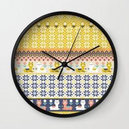 Fair Isle Christmas Alpaca Pattern Wall Clock