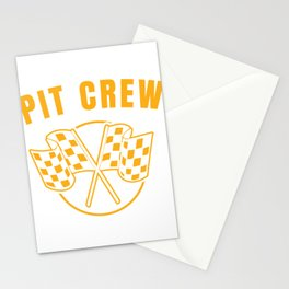 Automotive Race Car Sports Team Pit Crew Racing Car Racetrack Checkered Flag T-shirt Design Stationery Cards