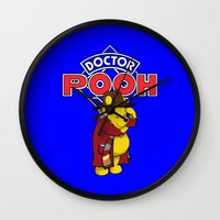 pooh Wall Clocks featuring Doctor Pooh by cû3ik designs