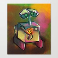 wall e Canvas Prints featuring WALL-E by tidlin