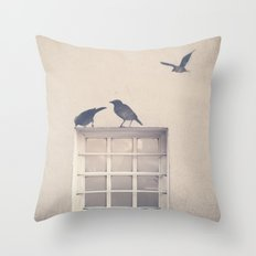 Let me be a bird in your window - vintage retro, beige cream, urban, black and white photography Throw Pillow