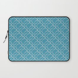 Weaving of curved white barbed wire with spikes on a blue background. Bright diagonal pattern Laptop Sleeve