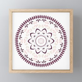 Leaf and petal floral Mandala with radial symmetry Framed Mini Art Print