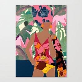 Jungle Pop! Swan Textile Collage Canvas Print