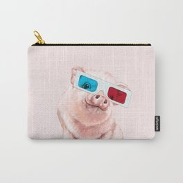 Baby Pink Pig Wear Glasses Pink Carry-All Pouch