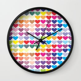 Colorful Hearts Wall Clock