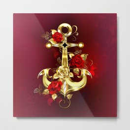 Golden Anchor with Roses Metal Print