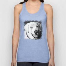 labrador retriever dog winking vector art black white Unisex Tank Top