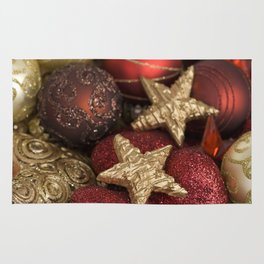 Christmas ornaments red and gold Rug