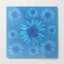 Winter Daisies in ice blue Metal Print