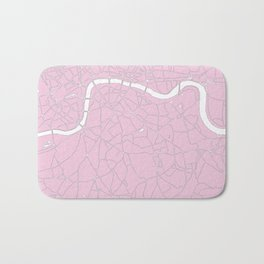London Pink on White Street Map Bath Mat