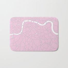 London Pink on White Street Map Bath Mat