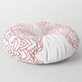 Modern geometric white rose faux gold floral mandala Floor Pillow