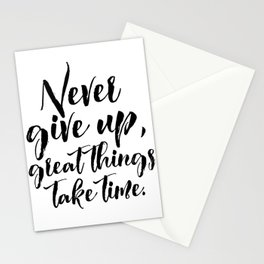 Motivational Poster, Never Give Up.. Office Decor, Quote Print, Typography Poster Stationery Cards