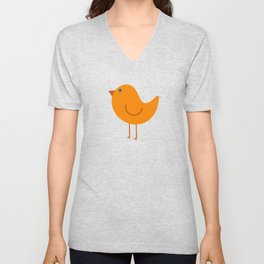 Birdies - Cute Bird Pattern in Orange, Rust, and Light Aqua Unisex V-Neck